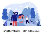 happy girl playing in mountain...   Shutterstock .eps vector #1844387668