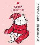 cute happy white kitten cat in... | Shutterstock .eps vector #1844392372
