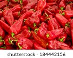 A group of fresh and clean red peppers - stock photo