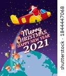 santa claus van with text merry ... | Shutterstock .eps vector #1844447068