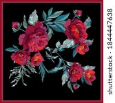 scarf design with vector roses... | Shutterstock .eps vector #1844447638