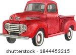 Watercolor Red Retro Truck....