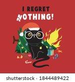 Cute Cartoon Black Cat Playing...