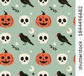 halloween seamless pattern with ... | Shutterstock .eps vector #1844496682