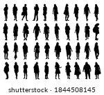 set of woman silhouette vector | Shutterstock .eps vector #1844508145