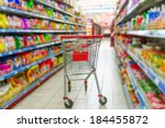 supermarket interior  empty red ... | Shutterstock . vector #184455872
