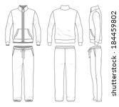 Blank men's track suit in front, back and side views. Vector illustration. Isolated on white.