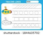 trace line worksheet for kids.... | Shutterstock .eps vector #1844635702