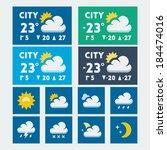 vector weather widget  flat...