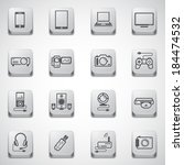 Metal texture button electronic Devices Icons set  - stock vector