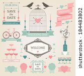 vintage collection of vector... | Shutterstock .eps vector #184483802