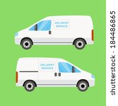 white delivery van twice on the ... | Shutterstock .eps vector #184486865