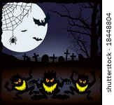halloween demonic night  vector ... | Shutterstock .eps vector #18448804
