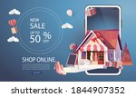 online delivery service home...   Shutterstock .eps vector #1844907352