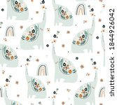 seamless pattern with cute... | Shutterstock .eps vector #1844926042