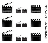Movie clapper board set, isolated on white background, vector illustration.