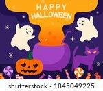 halloween background cartoon... | Shutterstock .eps vector #1845049225