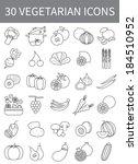vegetarian thin line icons ... | Shutterstock .eps vector #184510952