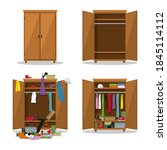 close and open wardrobe set ... | Shutterstock .eps vector #1845114112