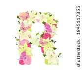 graceful floral abc with white... | Shutterstock .eps vector #1845117355