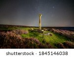 Milky way and cross at North York Moors, Rosedale, UK. Not a digital replaced sky.