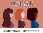 women's day cute hand drawn... | Shutterstock .eps vector #1845146215