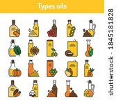 types oils glass bottles color...