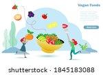 happy women enjoy eating vegan... | Shutterstock .eps vector #1845183088