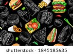 seamless pattern with burgers...   Shutterstock .eps vector #1845185635
