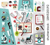 set of medical flat design... | Shutterstock .eps vector #184520192
