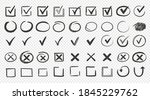 hand drawn check signs. doodle... | Shutterstock .eps vector #1845229762