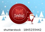 santa claus with a huge bag on... | Shutterstock .eps vector #1845255442