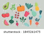 food vegetables and fruits... | Shutterstock .eps vector #1845261475