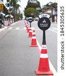 Small photo of Sao Paulo/SP/Brasil - 11-01-2020: Uber-sponsored bike lane in Sao Paulo. Text: Avoid pedaling in a platoon