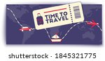 time to travel minimalist... | Shutterstock .eps vector #1845321775