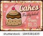 Cakes Rusty Metal Plate  Vector ...
