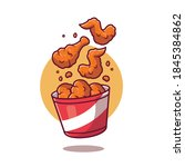 flying fried chicken with... | Shutterstock .eps vector #1845384862