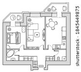 architectural plan view from... | Shutterstock .eps vector #1845449875