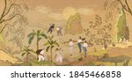 life in ancient china. oriental ... | Shutterstock .eps vector #1845466858