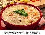 pea soup with bacon and sausage ... | Shutterstock . vector #184550042