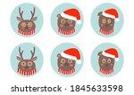 animal faces icon set. cute... | Shutterstock .eps vector #1845633598