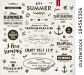 retro elements for summer... | Shutterstock .eps vector #184565306