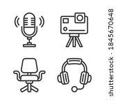 video blogger ans podcast... | Shutterstock .eps vector #1845670648