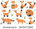 cute collection of little foxes.... | Shutterstock .eps vector #1845672085
