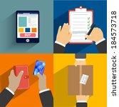 business concept. set of hands... | Shutterstock . vector #184573718