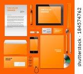 orange corporate id mockup.... | Shutterstock .eps vector #184574762