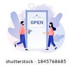 open   sign on the door and... | Shutterstock .eps vector #1845768685