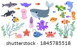 collection of cute sea animals. ... | Shutterstock .eps vector #1845785518