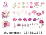 floral tropical boho collection.... | Shutterstock .eps vector #1845811975