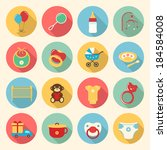 baby colorful flat design icons ... | Shutterstock .eps vector #184584008